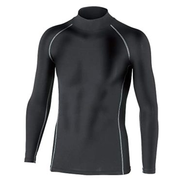 だから快適!おたふく手袋 ボディータフネス 保温 コンプレッション パワーストレッチ 長袖 ハイネックシャツ JW-170 ブラック M